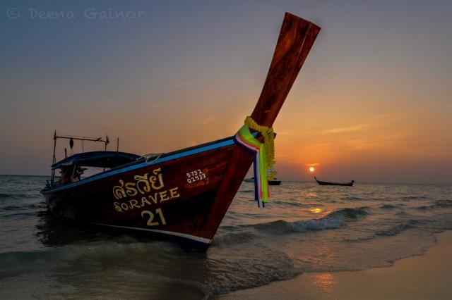 Long Tail Boat at Sunrise