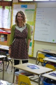 Becca in her school room
